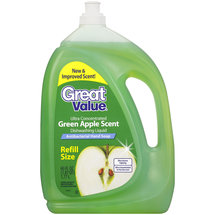 Great Value Antibacterial Green Apple Scent Refill Size Dishwashing Liquid/Hand Soap