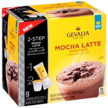 Gevalia Mocha Latte Espresso Coffee Cups & Froth Packets