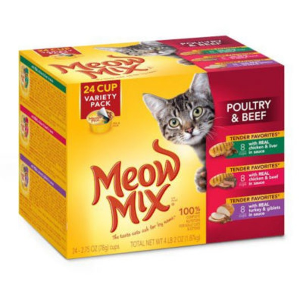 Meow Mix Tender Favorites Poultry & Beef Variety Pack Wet Cat Food