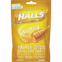 Halls Base Honey-Lemon Advanced Vapor Action Menthol Drops Cough Suppressant/Oral Anesthetic