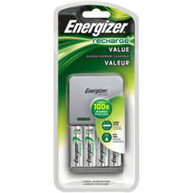 Energizer AA/AAA Value Charger with 4 AA NiMH Batteries