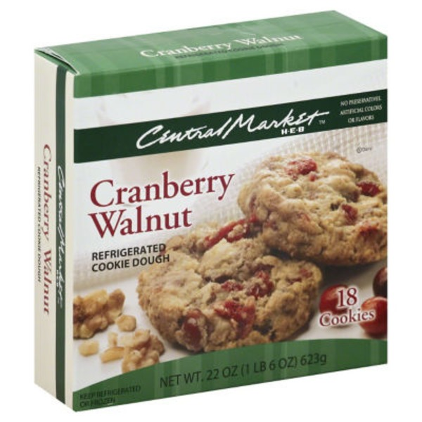Central Market Cranberry Walnut Refrigerated Cookie Dough
