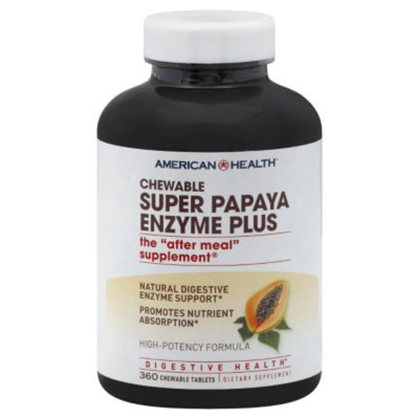 American Health Super Papaya Enzyme Plus Chewable Tablets