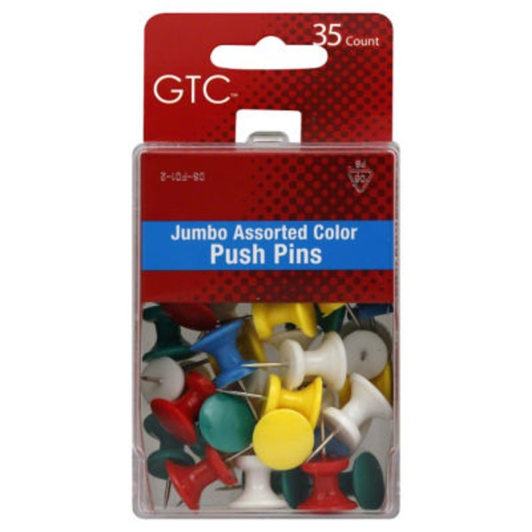 GTC Jumbo Assorted Color Push Pins