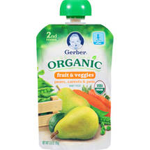 Gerber Organic 2nd Stage Pears Carrots & Peas Baby Food