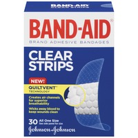 Band Aid® Brand Adhesive Bandages Clear Strips 30 ct All One Size Value