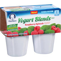 Gerber Raspberry Spinach Yogurt Blends Snack