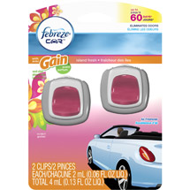 Febreze Car Vent Clips with Gain Scent Island Fresh Air Freshener