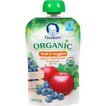 Gerber Organic 2nd Foods Apples Blueberries & Spinach Baby Food