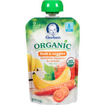 Gerber Organic 2nd Foods Fruit & Veggies Pumpkin Bananas & Carrots