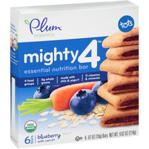 Plum Organics Mighty 4 Tots Blueberry with Carrot Essential Nutrition Bars