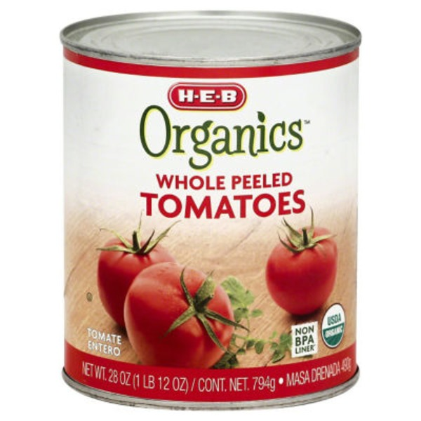 H-E-B Organics. Whole Peeled Tomatoes