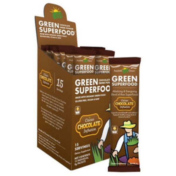 Amazing Grass Green Superfood Drink Powder Chocolate Infusion Packets