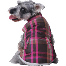 Puffer Dog Jacket with Fleece Lining (Multiple Sizes Available) Pink Plaid Jkt