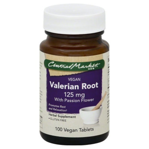 Central Market Valerian Root 125 Mg With Passion Flower Vegetarian Tablets