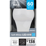 Great Value LED Light Bulb 10W (60W Equivalent) Omni (E26) Dimmable Soft White