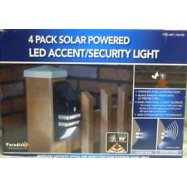 Paradise LED Solar Powered Accent/Security Light 4 Pack