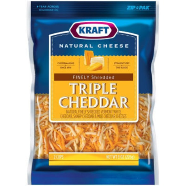 Kraft Finely Shredded Triple Cheddar Cheese