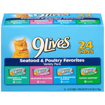 9Lives Seafood and Poultry Favorites Wet Cat Food Variety Pack 5.5-Ounce Cans (Pack of 24)