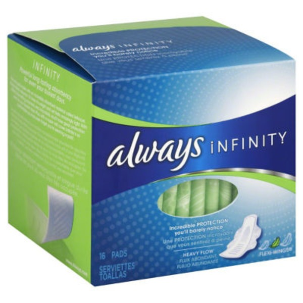 Always Infinity Size 2 Heavy Flow with Flex Foam Pads
