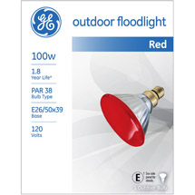 GE outdoor floodlight 85 watt red PAR38 1-pack