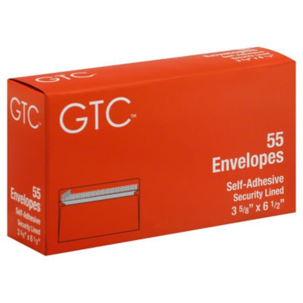 GTC Self Adhesive Security Lined Envelopes 3 5/8 X 6 1/2 Inch