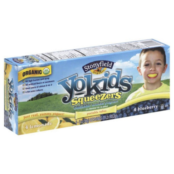 Stonyfield Organic Yokids Organic Lemonade & Blueberry Squeezers Yogurt