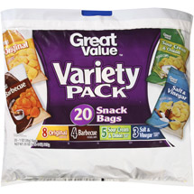 Great Value Potato Chips Variety Pack Snack Bags