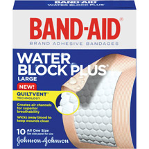 Band-Aid Adhesive Bandages Water Block Plus Large All One Size 2 x 3 10 ct