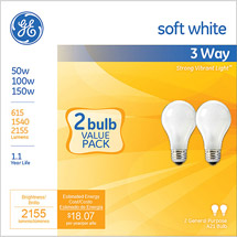 GE soft white 3-way 50/100/150 watt A21 Incandescent
