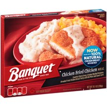 Banquet Country Style Gravy Boneless Fried Chicken Patty Mashed Potatoes And Corn Meal