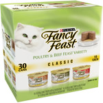 Fancy Feast Classic Poultry&Beef Feast 30-Pack Variety Canned Cat Food 3oz