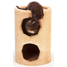 2 Story Fur Condo Cat Furniture - Blue base/Grey trim