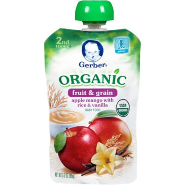 Gerber Organic 2 Nd Foods Organic Apples Mangoes with Rice & Vanilla Baby Food