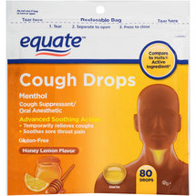 Equate Menthol Honey Lemon Flavor Cough Drops