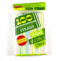 Acadian Trading Hi Quality Striped Flexible Straws