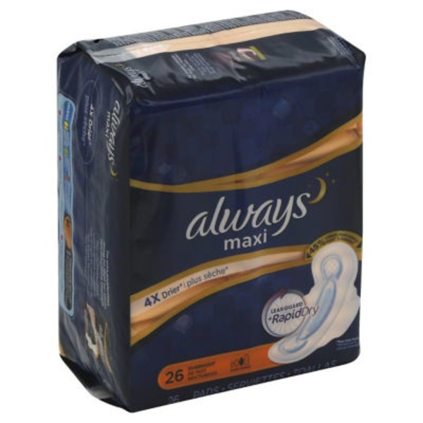 Always Maxi Always Maxi Size 4 Overnight Pads with Wings, Unscented, 26 Count Feminine Care