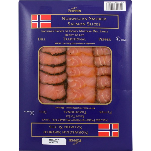 Foppen Norwegian Traditional Dill Pepper Smoked Salmon Slices