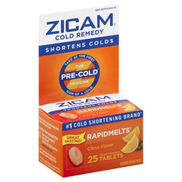 Zicam Cold Remedy Rapidmelts Quick Dissolve Tablets Citrus Flavor - 25 CT