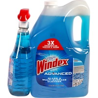 Windex Advanced Glass & Multi-Surface Cleaner, Spray Bottle + Refill