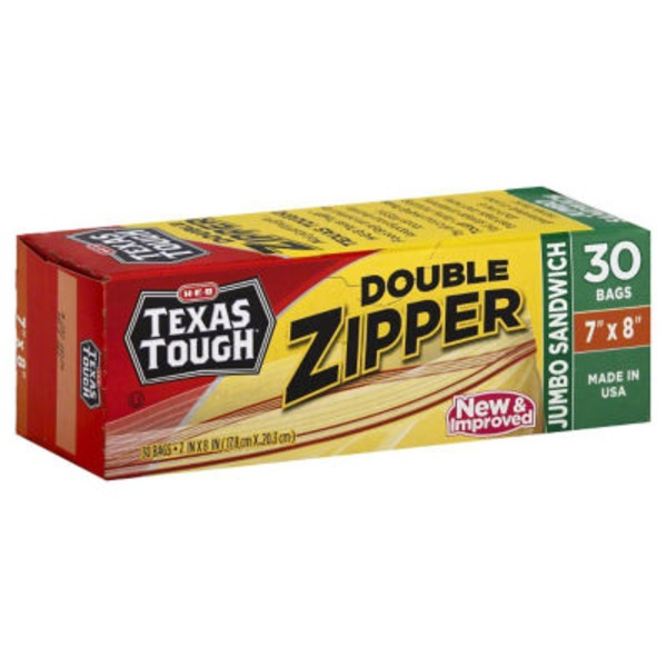 H-E-B Tough & Easy Double Zipper Jumbo Sandwich Bags