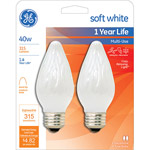 GE soft white 40 watt flame tip