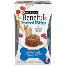 Purina Beneful Chopped Blends with Beef Tomatoes Carrots and Wild Rice Dog Food Three 3 oz Cans