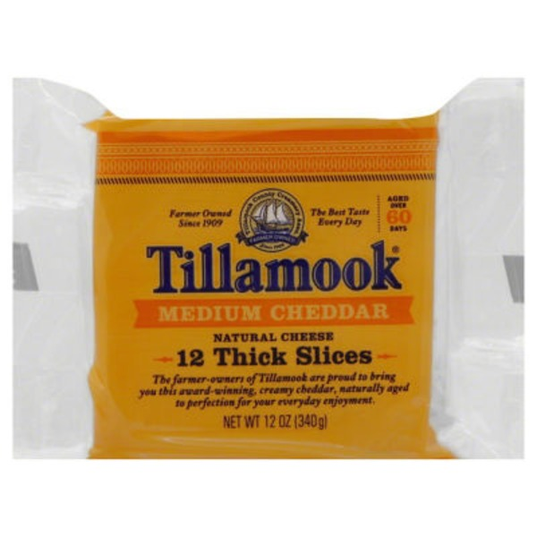 Tillamook Medium Cheddar Thick Slices Cheese