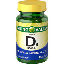 Spring Valley Vitamin D-3 Maximum Strength Softgels 5000 Iu Dietary Supplement