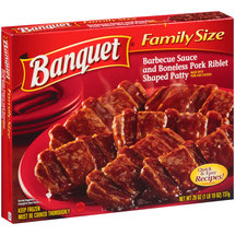 Banquet Barbeque Sauce and Boneless Pork Riblet Shaped Patty