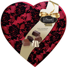 Russell Stover Private Reserve Valentine Chocolate Candies Lace Heart Box