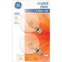 GE crystal clear 40 watt G16.5