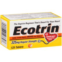 Ecotrin Regular Strength Safety Coated Aspirin Pain Reliever Tablets