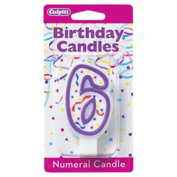 Culpitt Candles Candle Numerical 6 Purple